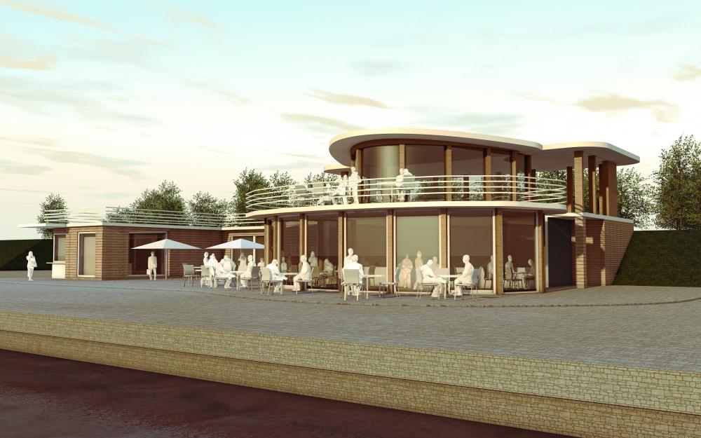 Entwurf für ein neues Hafengebäude am Berzdorfer See